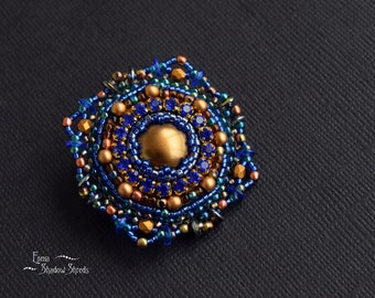 """Brooch """"Arabesque"""" Blue brooch Bronze brooch Openwork brooch Beaded brooch Brooch with strass Bead jewelry Christmas gift for her Xmas gift"""