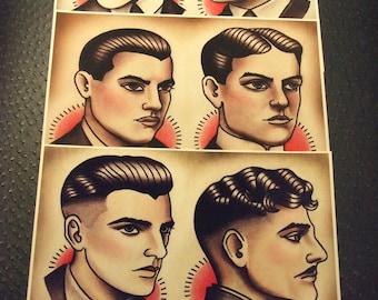 "1920's Gentlemen's Hairstyle Barber Barbering Guide Set of 3 (Color), 8""x10"""