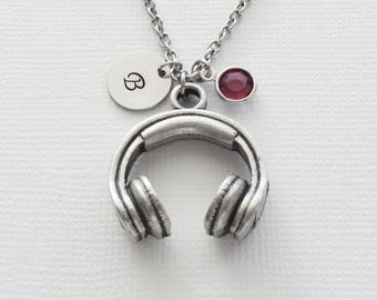 Headphones Necklace Music Musician Earphones Earbuds Jewelry Swarovski Birthstone Silver Initial Personalized Monogram Hand Stamped