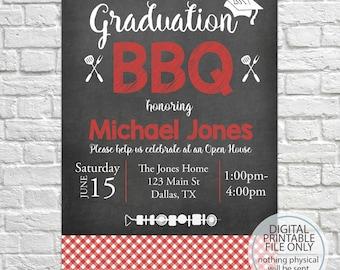 Graduation Open House Invitation, Graduation BBQ, Graduation Barbecue Invitation, Graduation Announcement, Class of 2018, Open House BBQ
