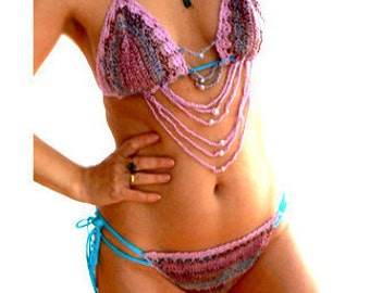 Strings crochet bikini. Multi purple turquoise brazilian bikini. Handmade low rise crochet swimsuit. Size Small -Sexy bikini set. Swimwear
