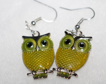 Yellow Owl Earrings Silver perfect gift or treat yourself these are beautiful