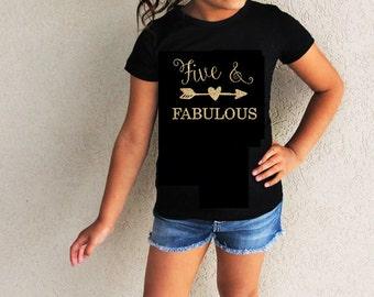 Fifth Birthday Shirt Five And Fabulous Kids Girls Custom Shirts Gold Glitter Design