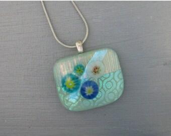 Mint Green Dichroic Fused Glass Pendant  Flower Garden, Small Glass Necklace, Dichroic Pendant, Green Glass Slide