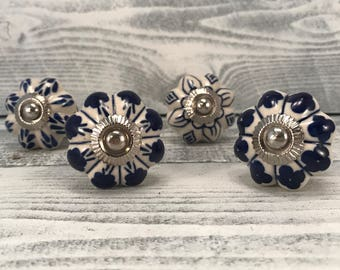 Complete Set of 4 Knobs, Decorative Hand Painted Cobalt Blue Pulls, Furniture Knob, As Shown 4 Drawer Pulls Item #543621830