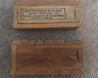 Two Vintage Wooden Drill Bit Boxes w/ Drill Bits - Butterfield & Co. Union Twist Drill Co