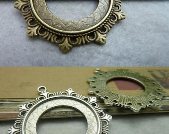 10 Antik Bronze Silber 30mm Lünette Tasse Cabochon / Cameo Halterungen AC6947