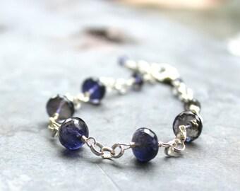Iolite Bracelet Sterling Silver Blue Gemstone Bracelet semi precious faceted beads