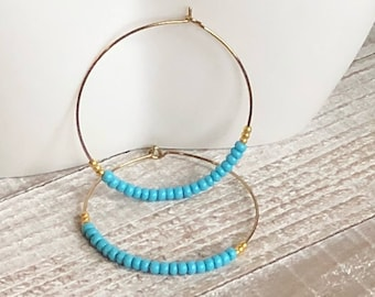 Hoop Earrings, Beaded Earrings, Turquoise Bead, Small Hoop, Gold Hoop Earrings, Boho Earrings, Handmade Jewelry, Blue Earrings, Seed Bead