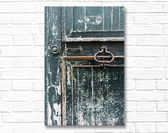 Paris Photograph on Canvas - Worn Teal Door, Gallery Wrapped Canvas, Architecture Photo, French Urban Decor, Large Wall Art