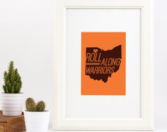 Bowling Green State University Roll Along Warriors Frameable Wall Art Digital Print 5x7 and 8x10