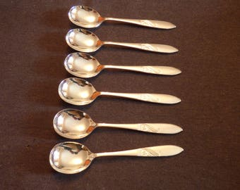Silver plated soup spoons x6