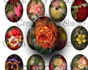 INSTANT DOWNLOAD Digital Collage Sheet - Vintage Flowers Illustrations - Large Ovals 30 x 40 mm for Pendants - Magnets - Scrapbooking (OL4)