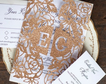 Rose Gold Monogram Laser Cut Gatefold Wedding Invitation