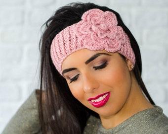 Pink flower headband, winter headband, womens ear warmers, winter head wrap, headband with flower, womens knit headband, crochet headband