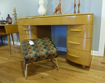 Mid Century Heywood Wakefield Keyhole Desk, refinished in custom original color stain
