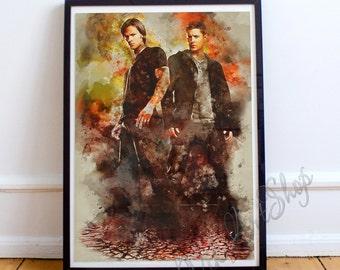 Supernatural Sam And Dean Poster, Supernatural Watercolor Art Print, Jensen Ackles, Jared Padalecki, Winchester Brothers Birthday present