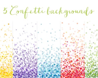 Confetti Digital Paper set  - 5 Bright Colourful Digital Backgrounds - for Scrapbooking, Crafts, Invitations, Digital Scrapbooking