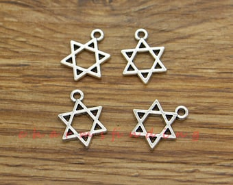 50pcs Star of David Charms Antique Silver Tone Findings Jewelry Making 13x17mm cf3582