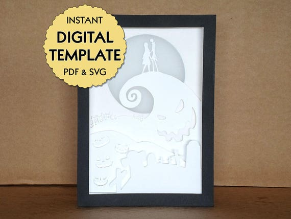 Template Nightmare Before Christmas Paper Cut File Silhouette Light