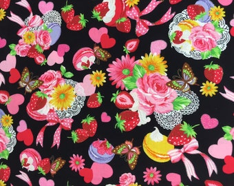 """Macaron Picnic BLACK 100% Cotton ~ 42"""" Wide ~ Sold by the Yard"""