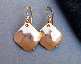 Hammered Brass Small Square Earrings Gold Dangle Earrings with 14k Gold Filled Ear Wires Handmade Modern Simple Everyday Jewelry