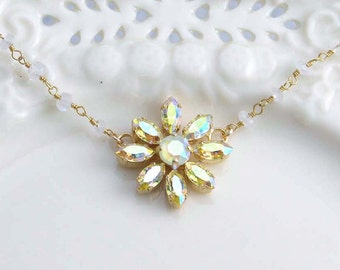 Flower Necklace. Yellow Daisy. Swarovski Flower Necklace. Light Yellow Flower Necklace. Moonstone Rosary Chain. Gift for Her.