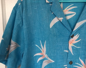 Vintage Hawaiian Tropical shirt by Off Shore Birds of Paradise blue 80s 1980s