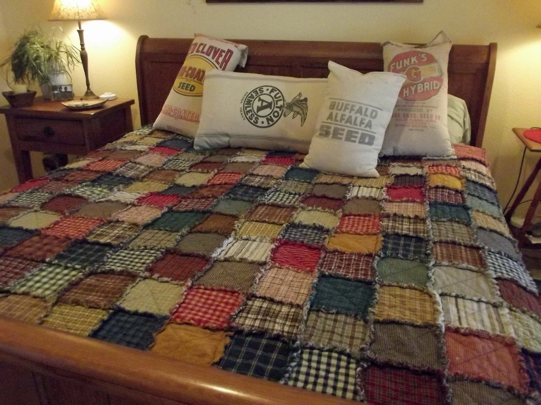 Custom Patchwork Rag Quilt XL Queen Handmade Rustic Made : quilting queen - Adamdwight.com