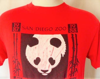 Vintage San Francisco Zoo Animal Pullover Red - Large VOP32UzV5
