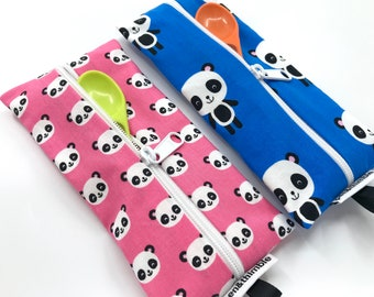 Baby Utensil Pouch (Toothbrush Cover, Cutlery Pouch, Pencil Case, Travel Accessories, Kawaii Panda Bears, Pink and Blue, For Boy Girl Twins)