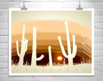 Desert Sunset Art, Cactus Silhouette Picture, Saguaro Cactus Photography, Desert Art Print, Western Picture, Southwestern Art, Arizona Gift