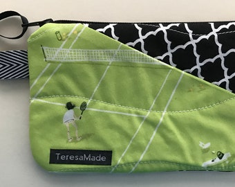 X-Small Tennis Patchwork Zip Pouch