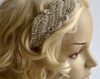 Rhinestone flapper Gatsby Headband, Wedding Headband,Crystal Headband, Wedding Headpiece, Halo Bridal Headpiece, 1920s Flapper headband