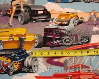 Phils 1950 Drive In Pin up Girls Hot Rods Cars BY YARDS Alexander Henry Cotton Fabric