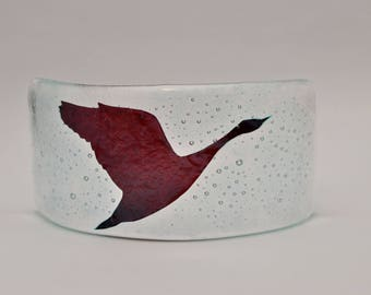 Flying bird fused glass nightlight curve