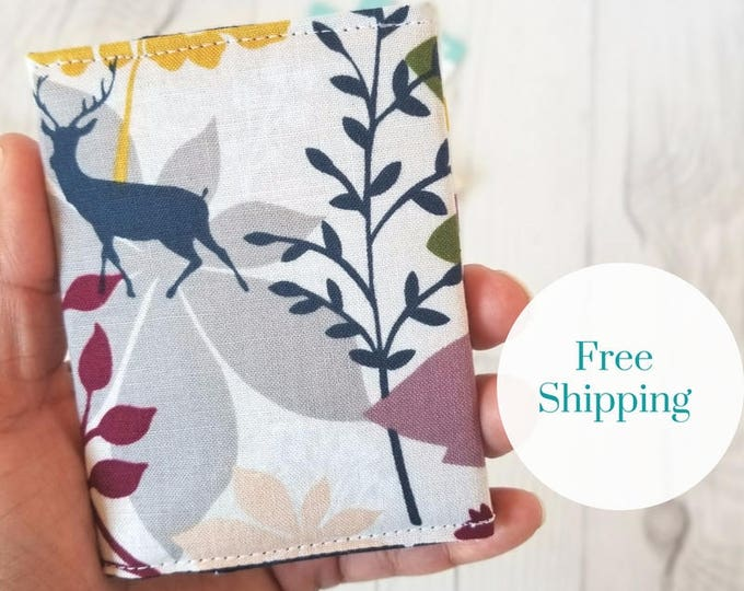 Featured listing image: Floral Wallet, Deer Wallet, Maroon Green Yellow Wallet, Small Women Wallet, Business Card Wallet, Credit Card Wallet, Credit Card Case