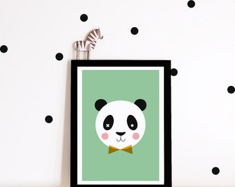 Nursery art print, nursery decor, nursery wall art, kids room decor, panda