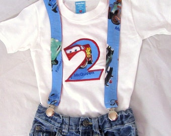 Cars Birthday Shirt Jeans Suspenders: Lightning Boy Birthday Outfit, blue red, adjustable, removable, birthday party, photo shoot, upcycled