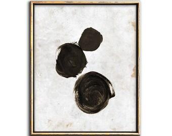 Circle Art, Abstract Art Print, Modern Painting, Minimalist Print, Poster, Sepia Print, Black and White, Printable Art, Wall Decor, Prints