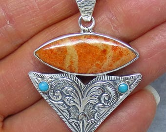Italian Coral & Turquoise Arrowhead Pendant or Necklace - Sterling Silver - Tooled - AP172108