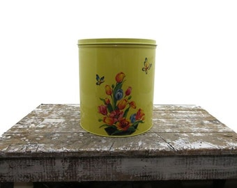 Vintage Canister Tin Canister Yellow Canister Large Four Canister Butterfly Decals