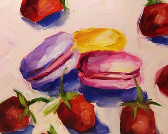 Strawberries with macarons, original oil painting, still life painting, boba painting