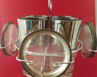 Silver Ombre Glass / Coaster / Caddy Set ~ Dorothy Thorpe Style