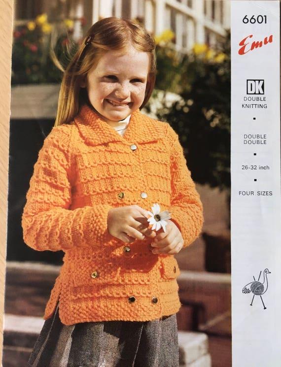 Childrens Cardigan Knitting Pattern, Emu Vintage Knitting Pattern ...