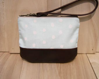 Ice blue clutch wristlet,wallet, dots, lifestyle,gift for her, cotton,small pouch, leather,