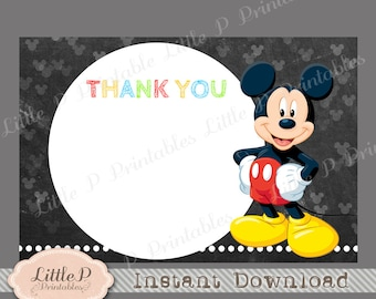 """Mickey Thank you Card, INSTANT DOWNLOAD, Mickey Thank You Note, Mickey Thank You Tag 4"""" x 6"""" Chalkboard Mouse Thank you Card"""