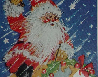 Unique Santa Claus on Top of the World Vintage Christmas Postcard