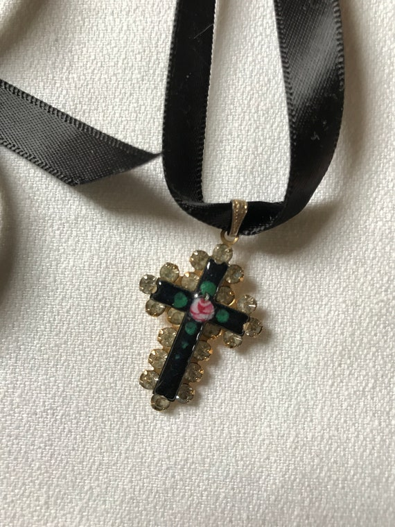 Black Enamel & Rhinestone Vintage Goldtone Cross with Pretty Painted Rose Center