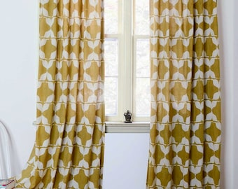 Yellow curtains SAMPLE SALE Mustard window treatment block print cotton curtain home and living housewares - ONE panel - Mustache 84in L